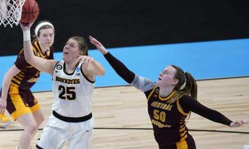 Iowa clears first NCAA women's basketball hurdle, 87-72, over Central…