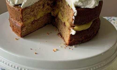 Try this strawberry jam cake with sour cream custard